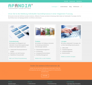 Screenshot Apandia-Webseite