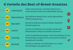 Info-Grafik: 6 Vorteile des Best-of-Breeds-Ansatzes