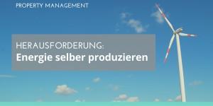 Foto Windrad vor blauem Himmel Text: Herausforderung: Energie selber produzieren