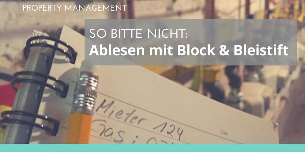 Foto: Notizblock vor Gaszählern Text: So bitte nicht - ablesen mit Block und Bleistift