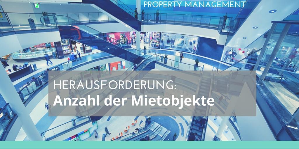 Foto: Einkaufszentrum Text: Herausforderung: Anzahl der Mietobjekte