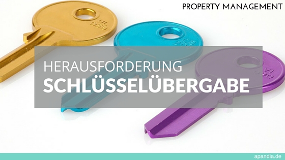 Foto: Bunte Schlüssel Text: Property Management – Herausforderung Schlüsselübergabe