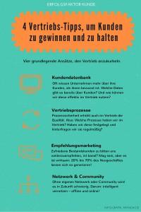 Infografik 4 Vertriebs-Tipps, um Kunden zu gewinnen und zu halten