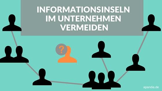 Bild von vernetzen Personen. Text: Informationsinseln im Unternehmen vermeiden