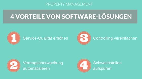 Info-Grafik zu den 4 Vorteilen von Software-Lösungen im Property Management